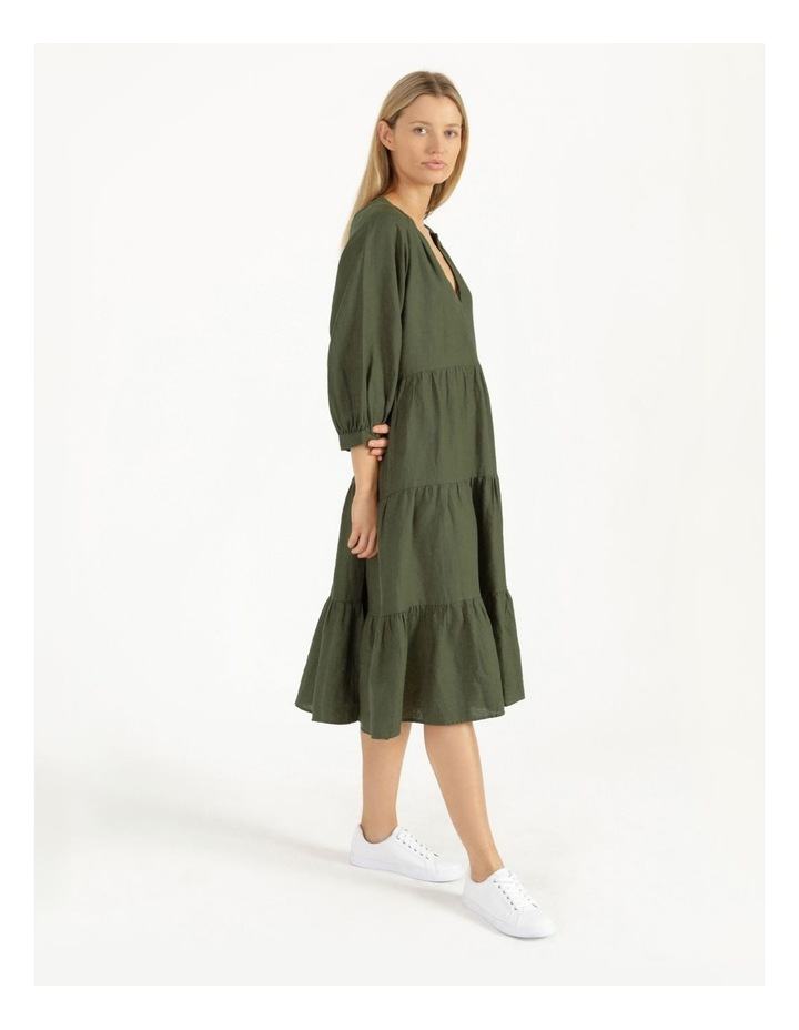 Puff Sleeve Tiered Khaki Midi Dress image 5
