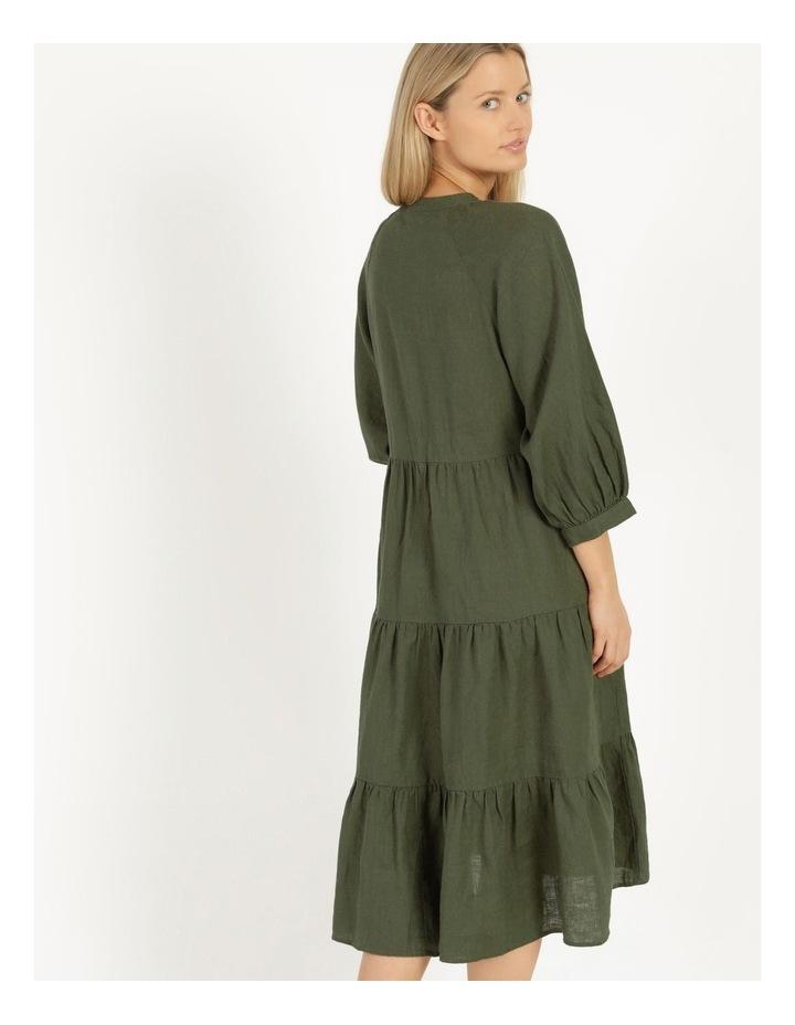 Puff Sleeve Tiered Khaki Midi Dress image 6
