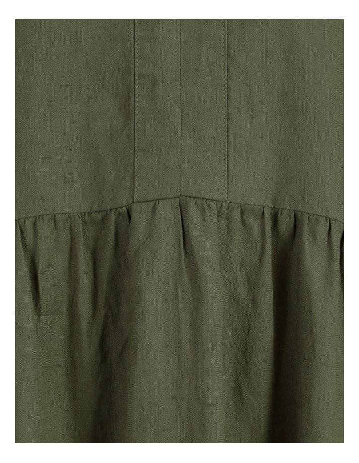 Puff Sleeve Tiered Khaki Midi Dress image 7