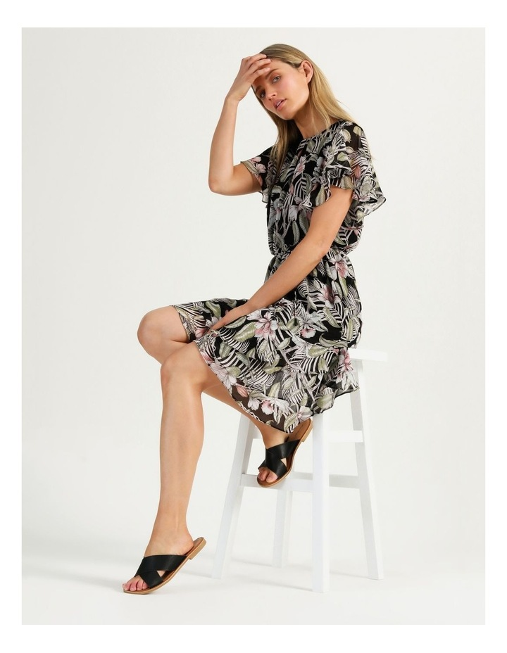 Flutter Sleeve Mini Dress White Cocoa Floral image 1