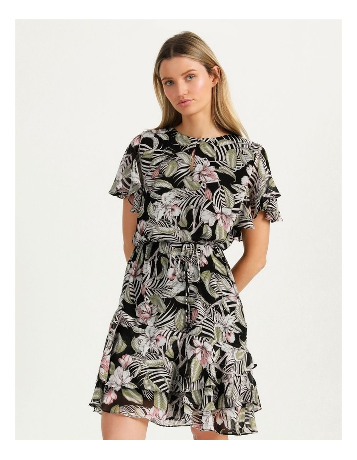 Flutter Sleeve Mini Dress White Cocoa Floral image 2