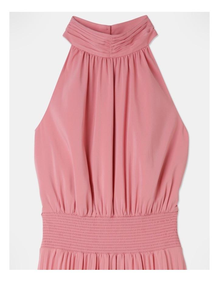 Pleated Halter Neck Midi Dress image 2