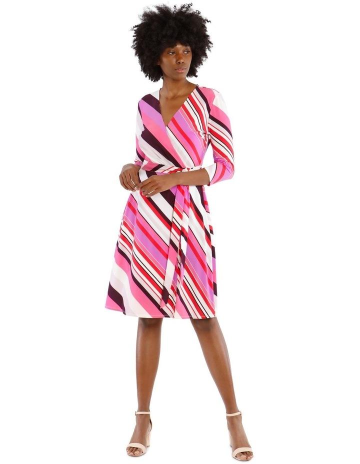 Diagonal Stripe Wrap Dress image 1