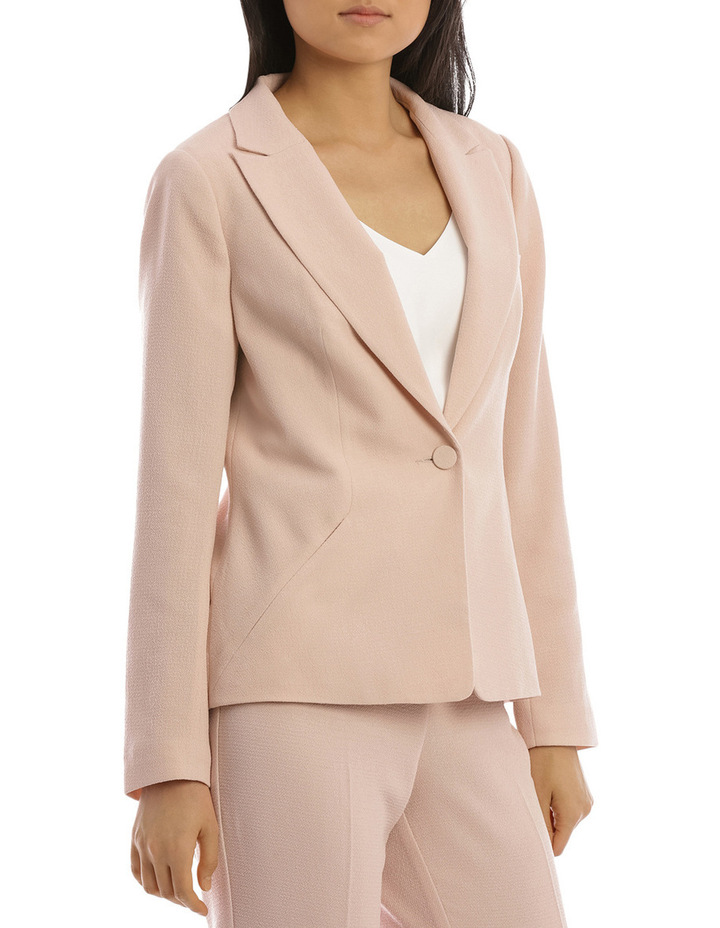Textured Crepe Single Button Jacket image 2