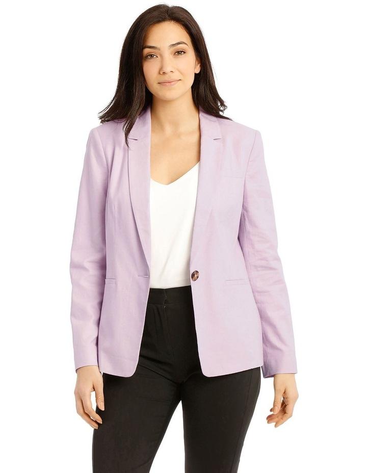 Linen Blend Single Button Blazer image 1