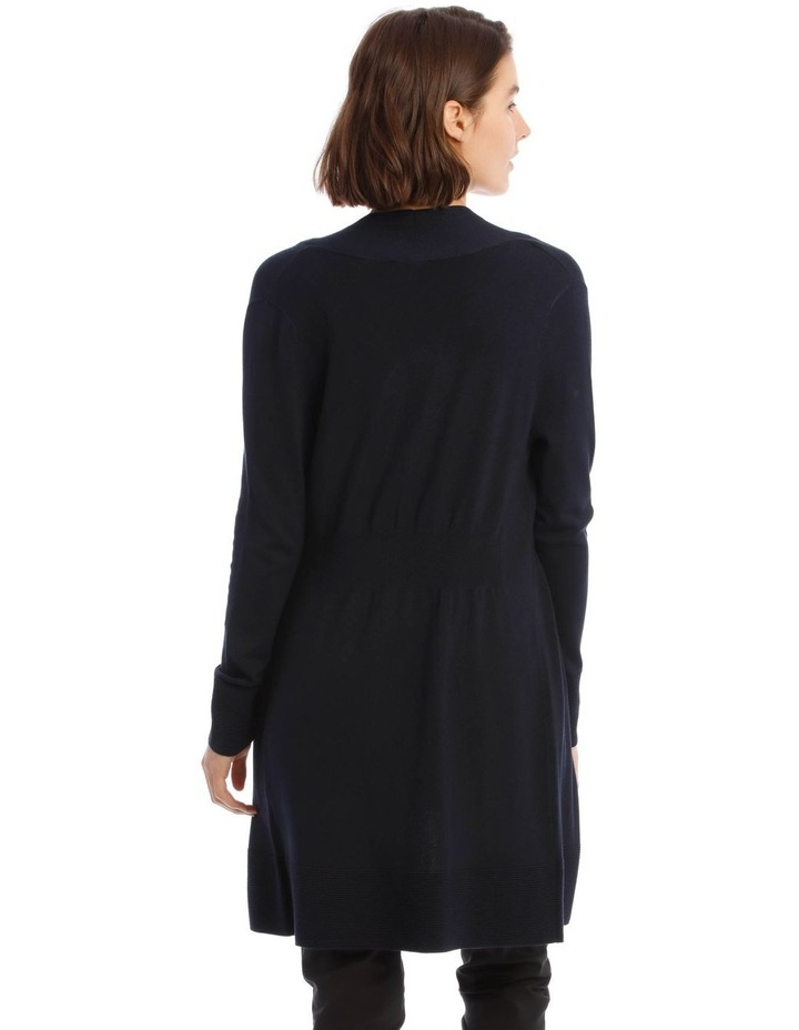 Long-Line Cardigan in Midnight Blue with Ribbed Detail image 3