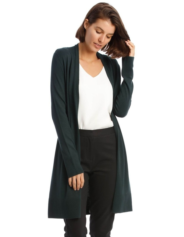 Long-Line Cardigan In Dark Green With Ribbed Detail image 1