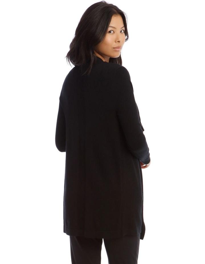 Drape-Front Cardigan in Black image 2