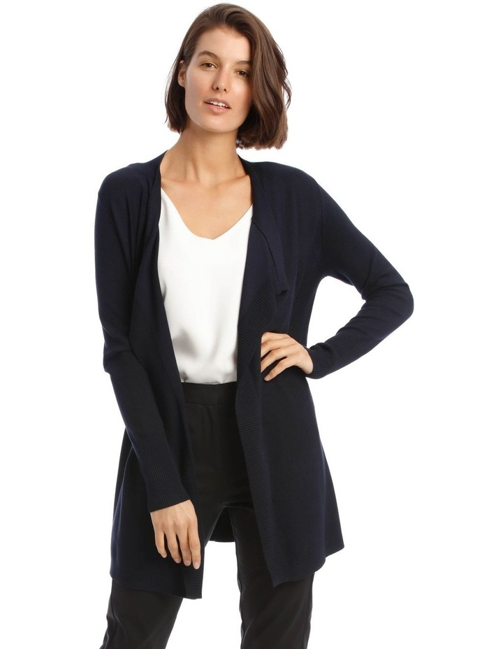 Drape-Front Cardigan in Midnight Blue image 1