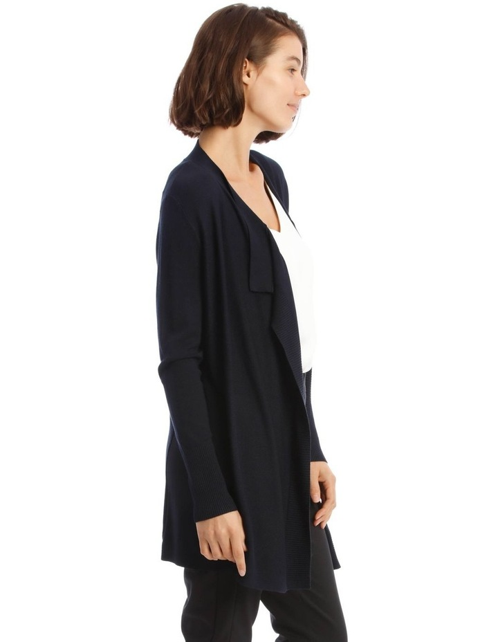Drape-Front Cardigan In Midnight Blue image 2