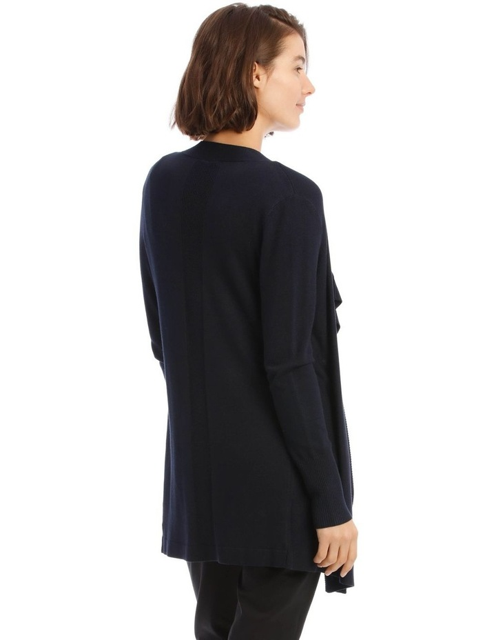 Drape-Front Cardigan In Midnight Blue image 3