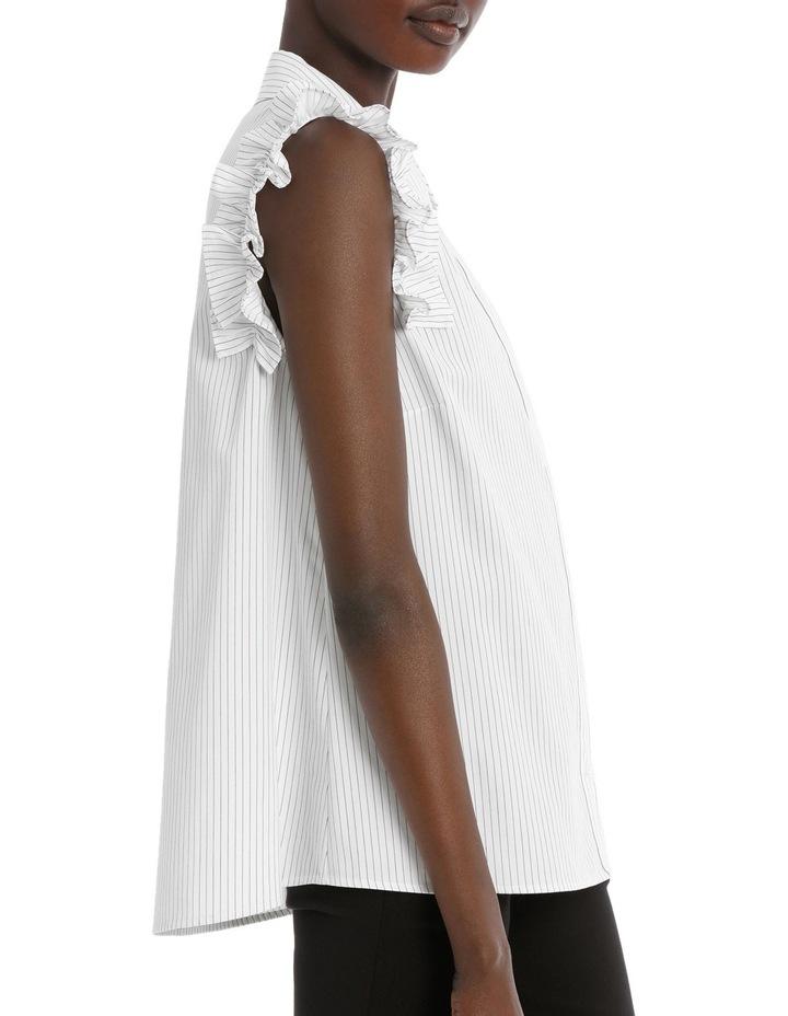 Fine Stripe Ruffle Trim S/Less Shirt image 2