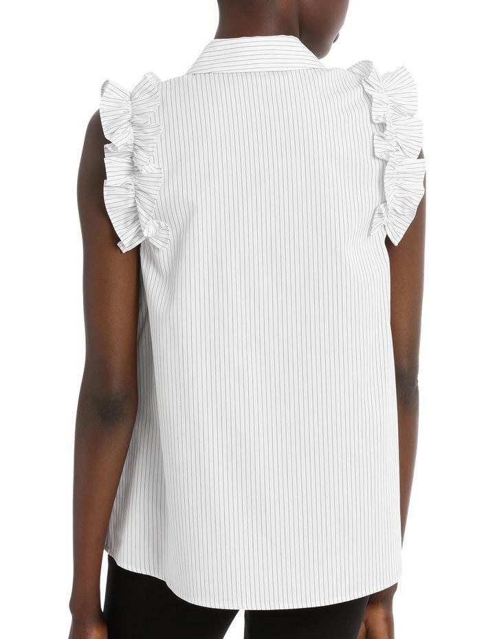 Fine Stripe Ruffle Trim S/Less Shirt image 3