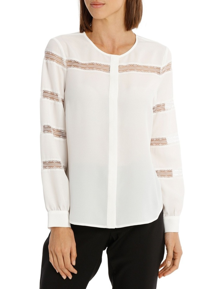 Lace Stripe Button Down Blouse image 1
