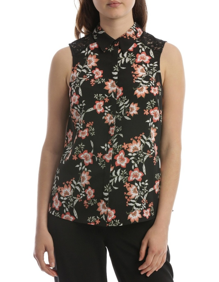 Passionfruit Bloom Lace Detail Sless Shirt image 1