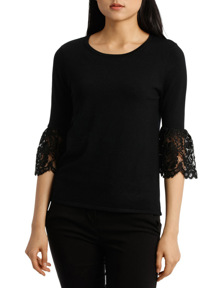 Lace Detail Short Sleeve Knit image 1