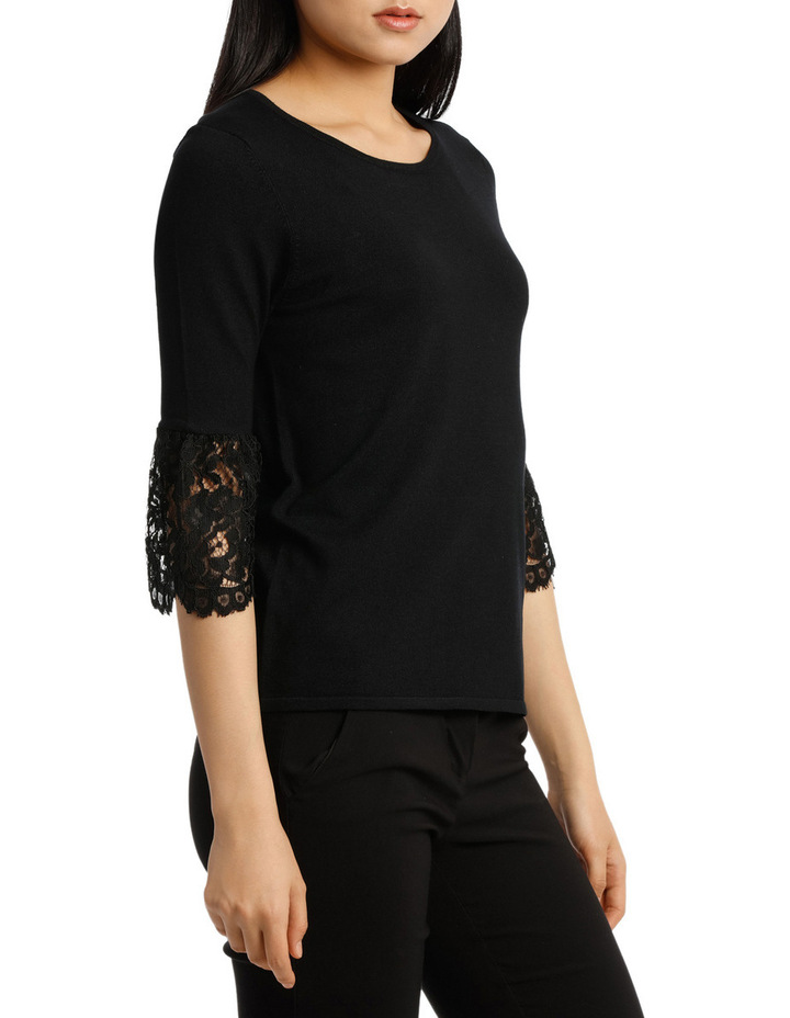 Lace Detail Short Sleeve Knit image 2