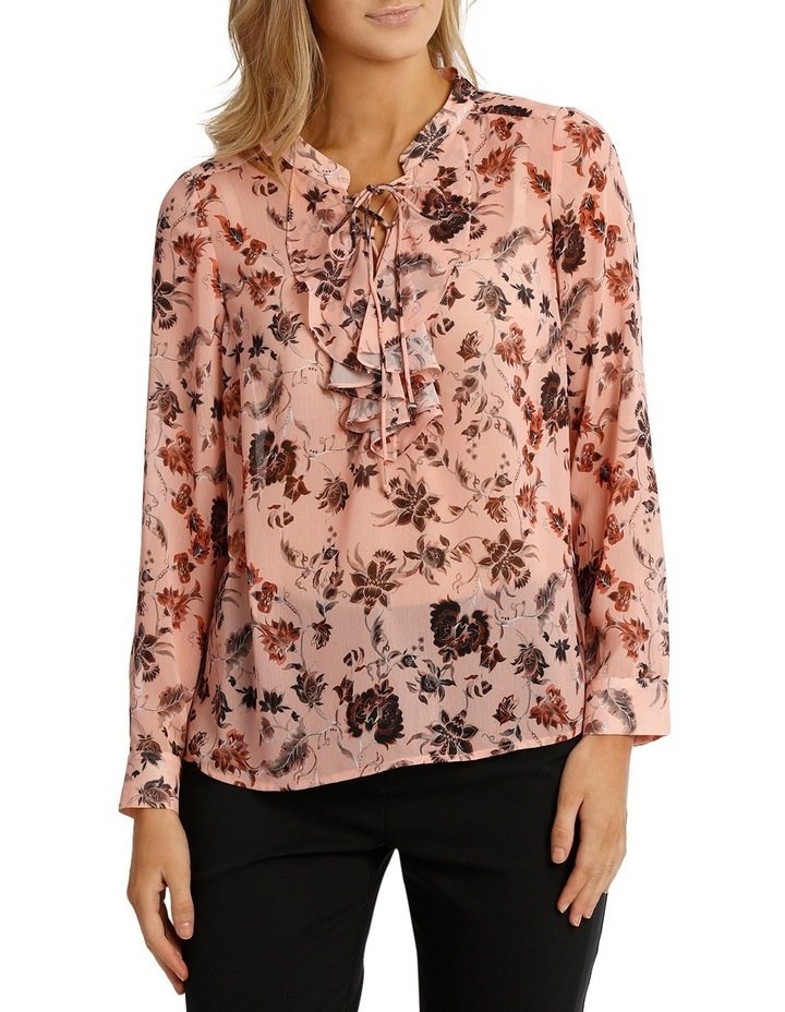 Vintage Floral Lace Up Long Sleeve Top image 1