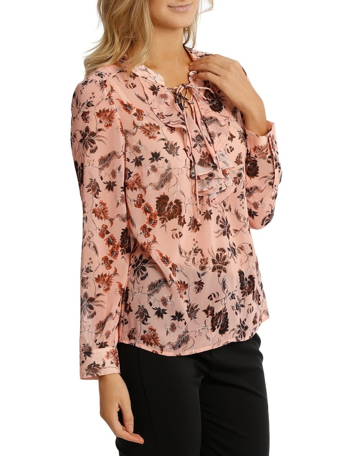 Vintage Floral Lace Up Long Sleeve Top image 2