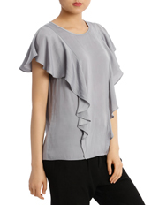 Basque Petites - Ruffle Front Bruised Poly Top