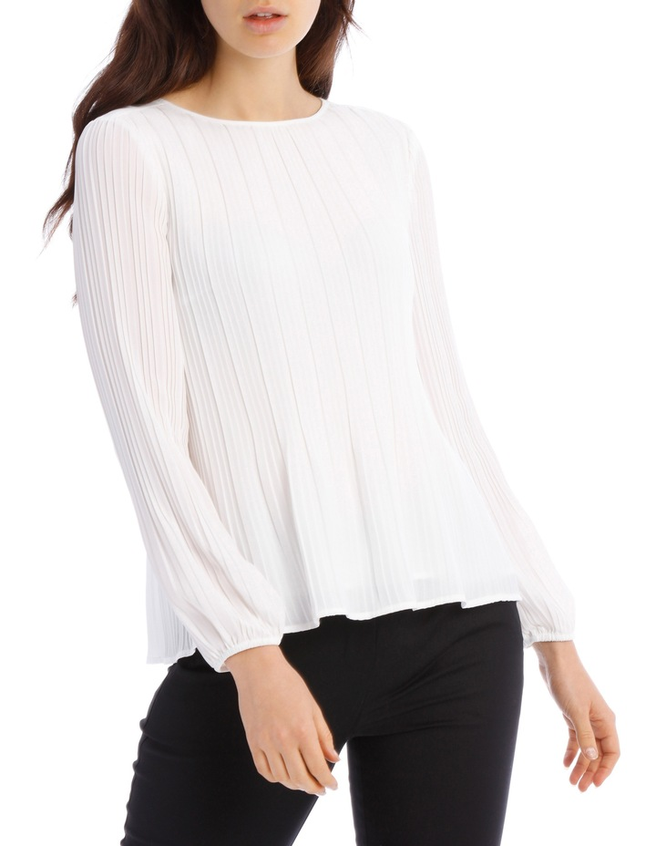 Pleated Long Sleeve Top image 1