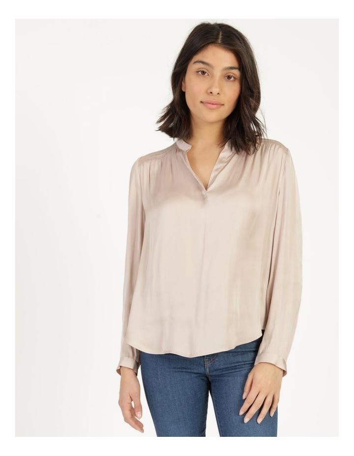 Shirred Shoulder Satin Blouse Pink image 1