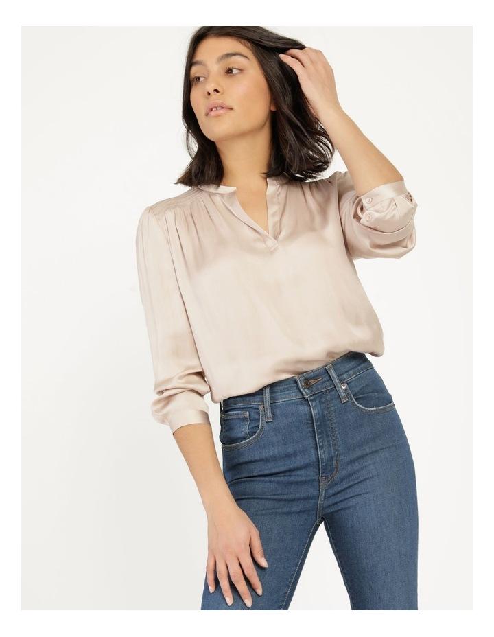 Shirred Shoulder Satin Blouse Pink image 2