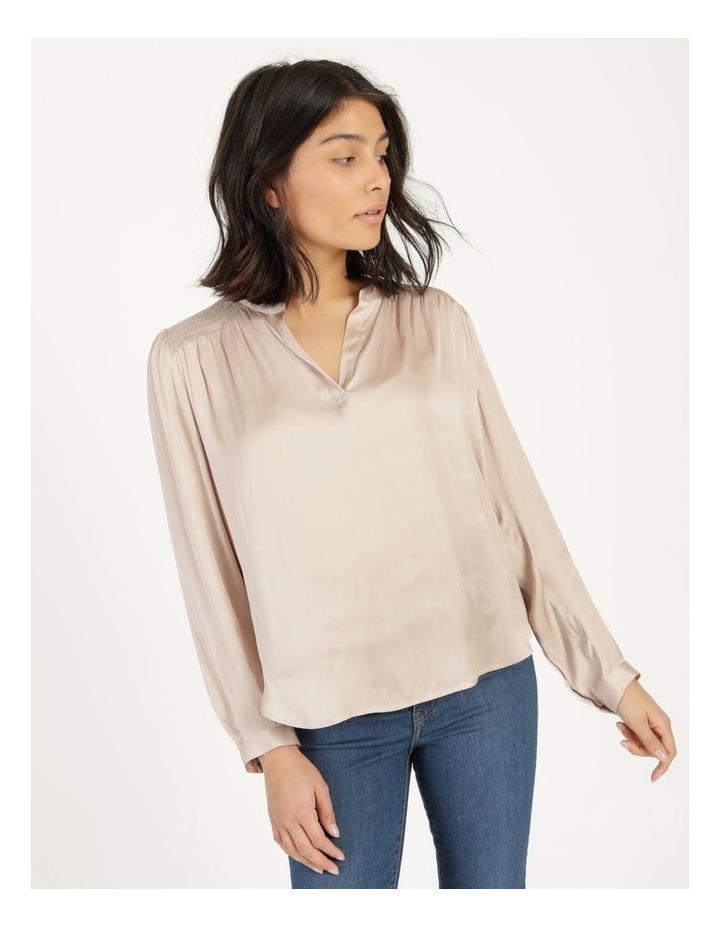 Shirred Shoulder Satin Blouse Pink image 4