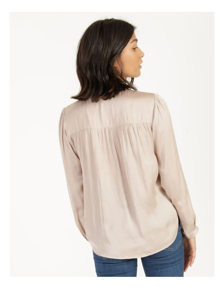 Shirred Shoulder Satin Blouse Pink image 5