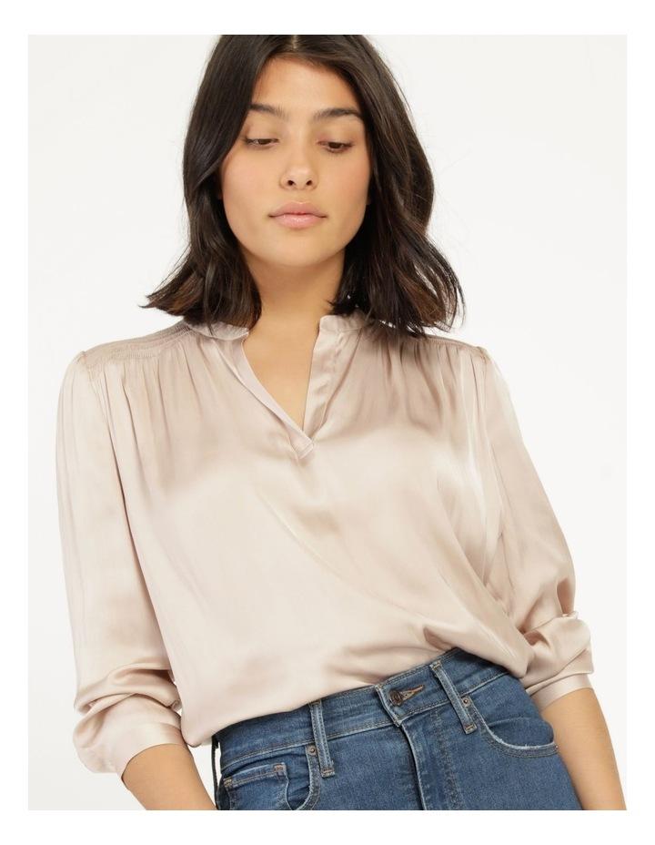 Shirred Shoulder Satin Blouse Pink image 6