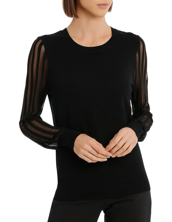 Sheer Stripe Long Sleeve Jumper image 1