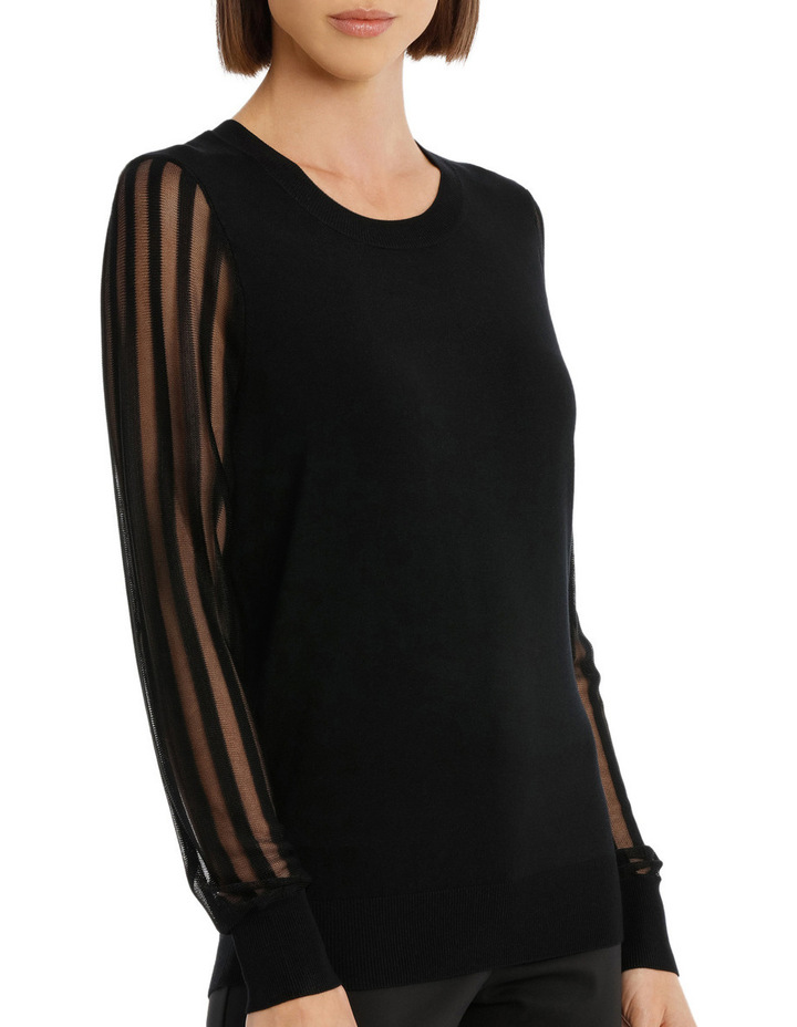 Sheer Stripe Long Sleeve Jumper image 2