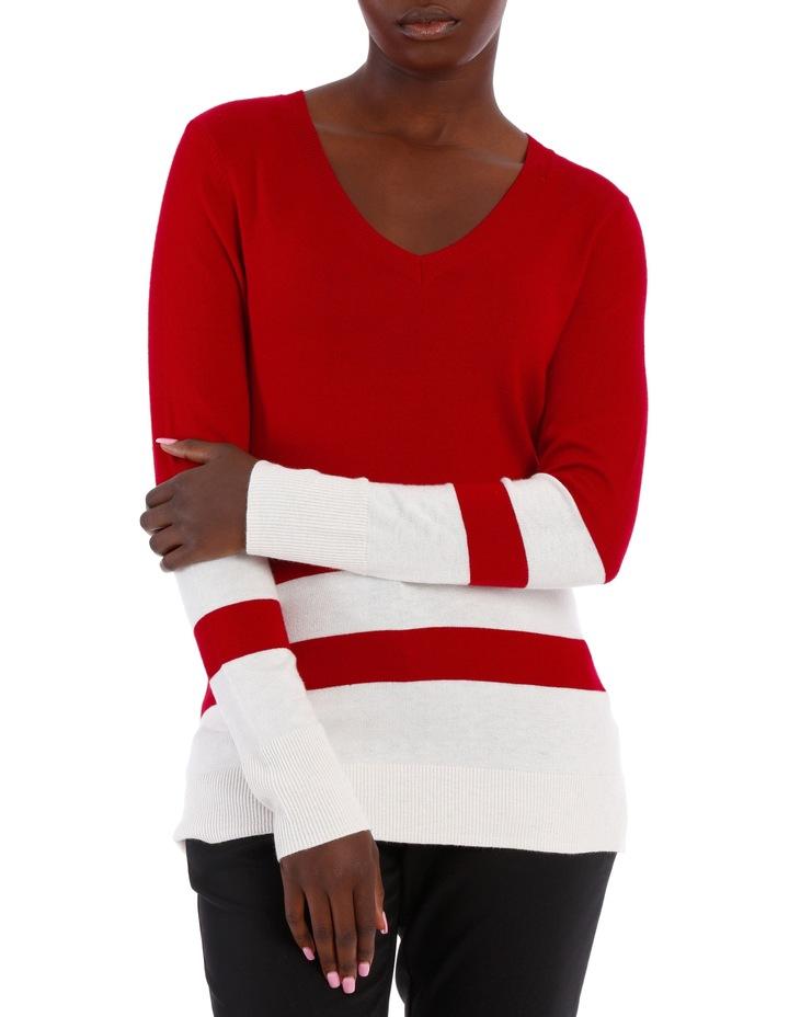 Silk Blend Block Stripe Jumper image 1