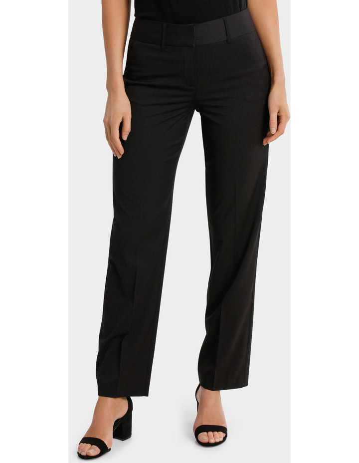 Black Fine Line Wide Leg Suit Pant image 1