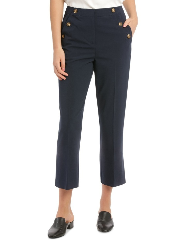 Button Detail High Waisted Crop Pant image 1