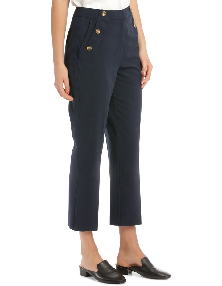 Button Detail High Waisted Crop Pant image 2