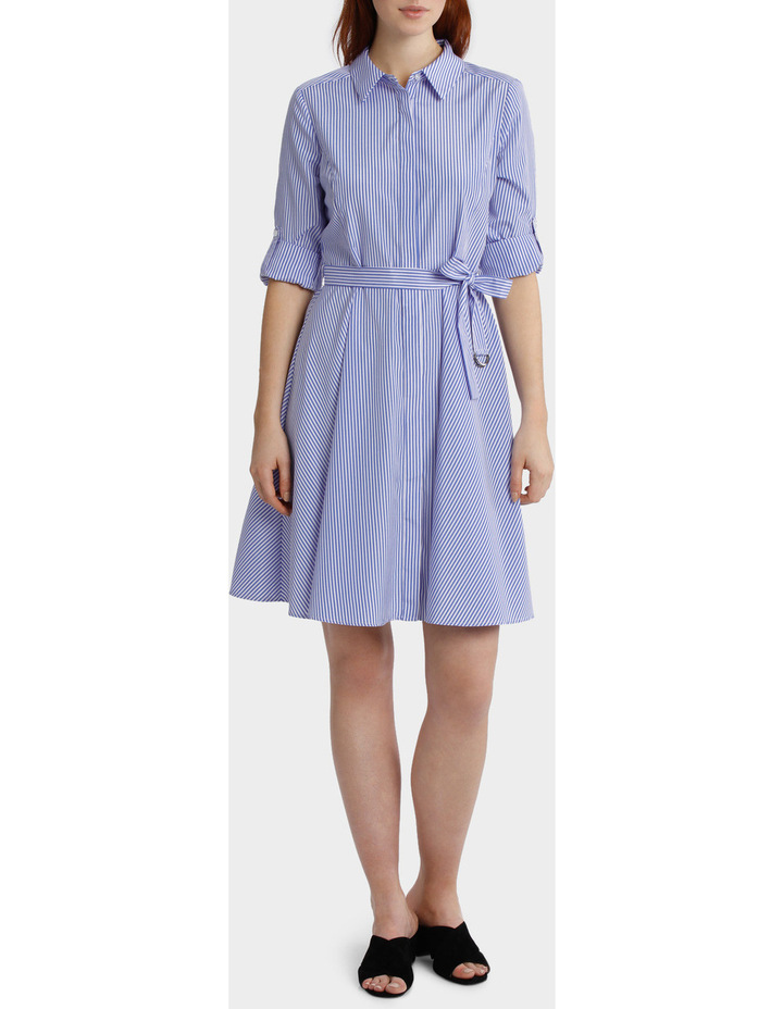 Striped Tab Sleeve Full Skirt Shirt Dress image 1