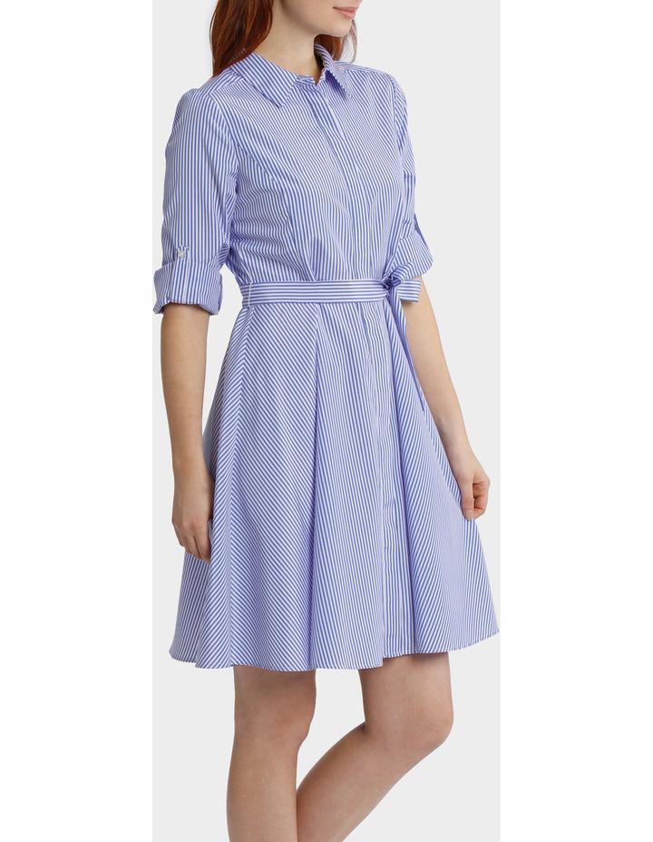 Striped Tab Sleeve Full Skirt Shirt Dress image 2