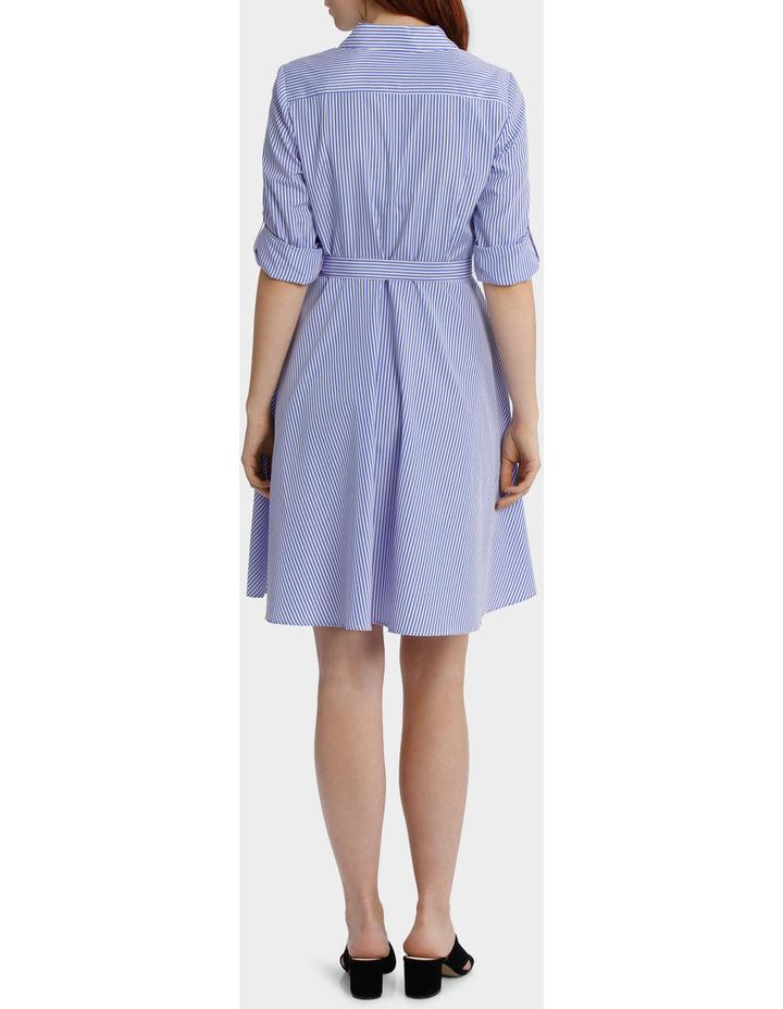 Striped Tab Sleeve Full Skirt Shirt Dress image 3