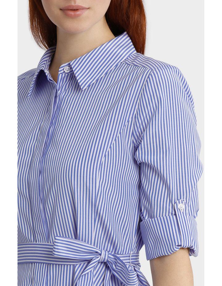 Striped Tab Sleeve Full Skirt Shirt Dress image 4