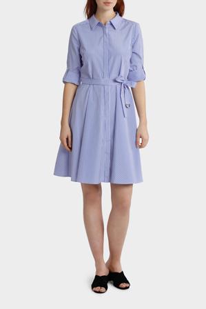 Basque Petites - Striped Tab Sleeve Full Skirt Shirt Dress