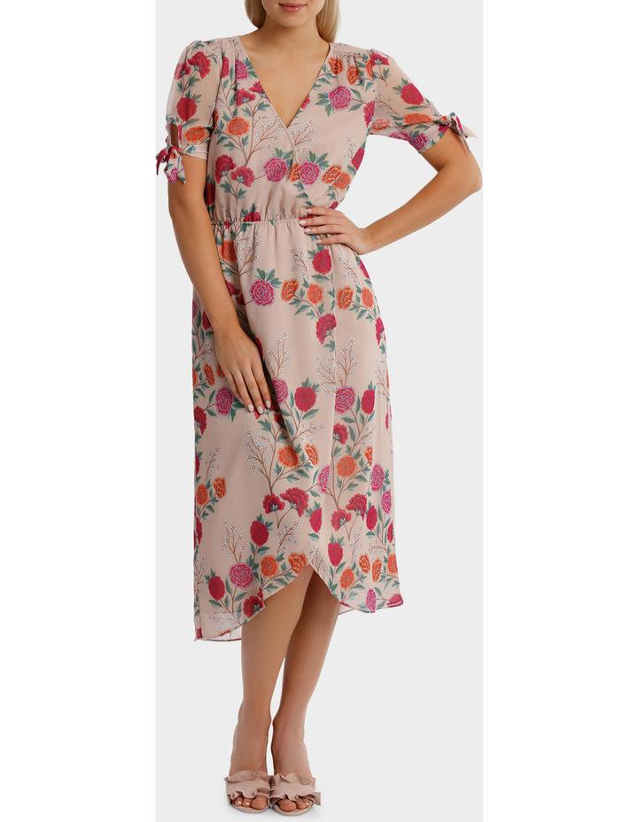 Lotus Bloom Print Crossover Tie Sleeve Midi Dress image 1