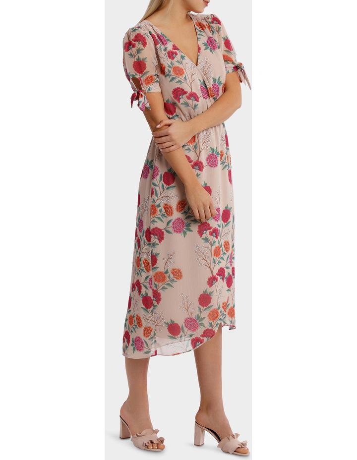 Lotus Bloom Print Crossover Tie Sleeve Midi Dress image 2