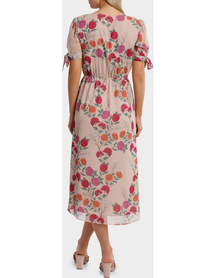 Lotus Bloom Print Crossover Tie Sleeve Midi Dress image 3