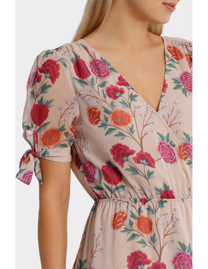 Lotus Bloom Print Crossover Tie Sleeve Midi Dress image 4