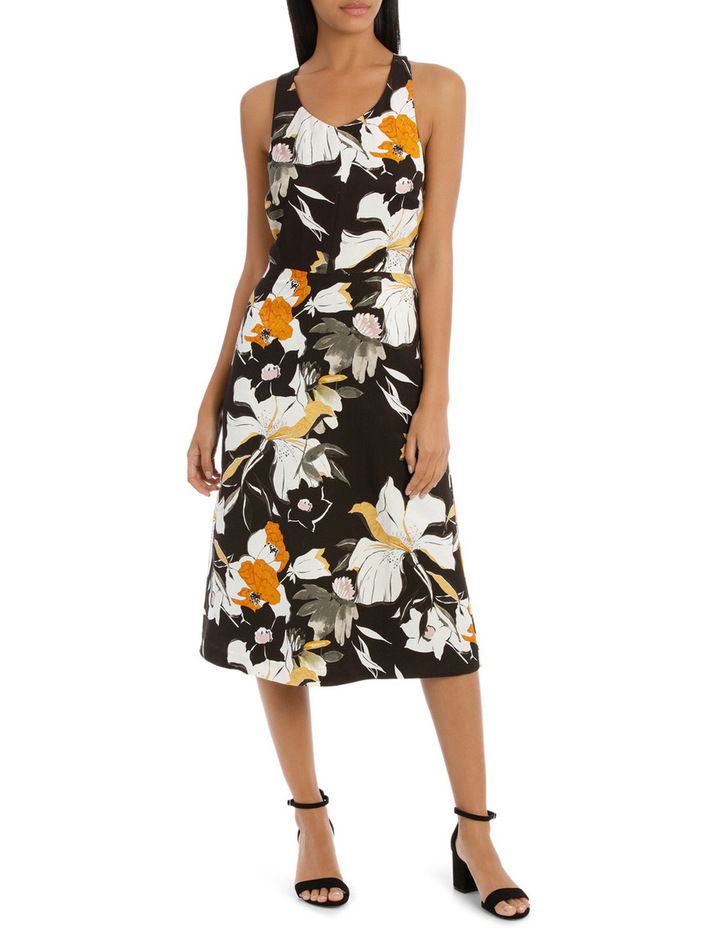 Vee Neck Sketchy Lily Print Midi Dress image 1