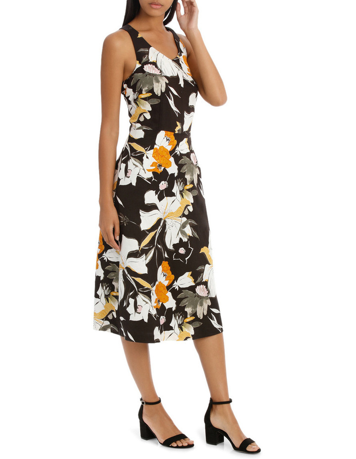 Vee Neck Sketchy Lily Print Midi Dress image 2