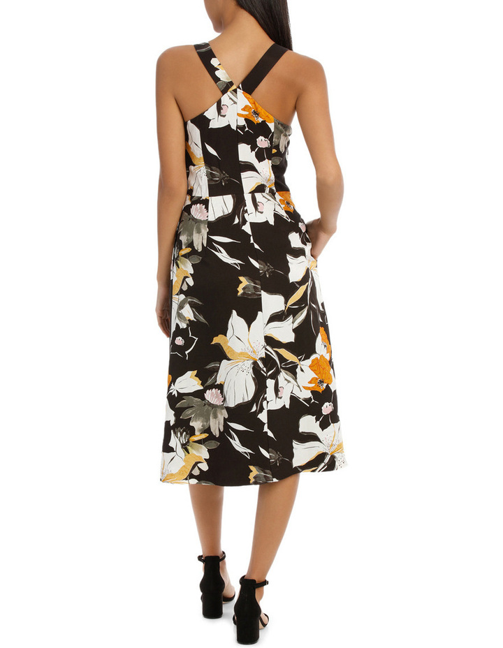 Vee Neck Sketchy Lily Print Midi Dress image 3