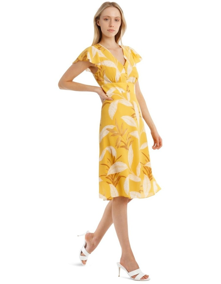 Printed Button Up Ruffle Sleeve Midi Dress image 2