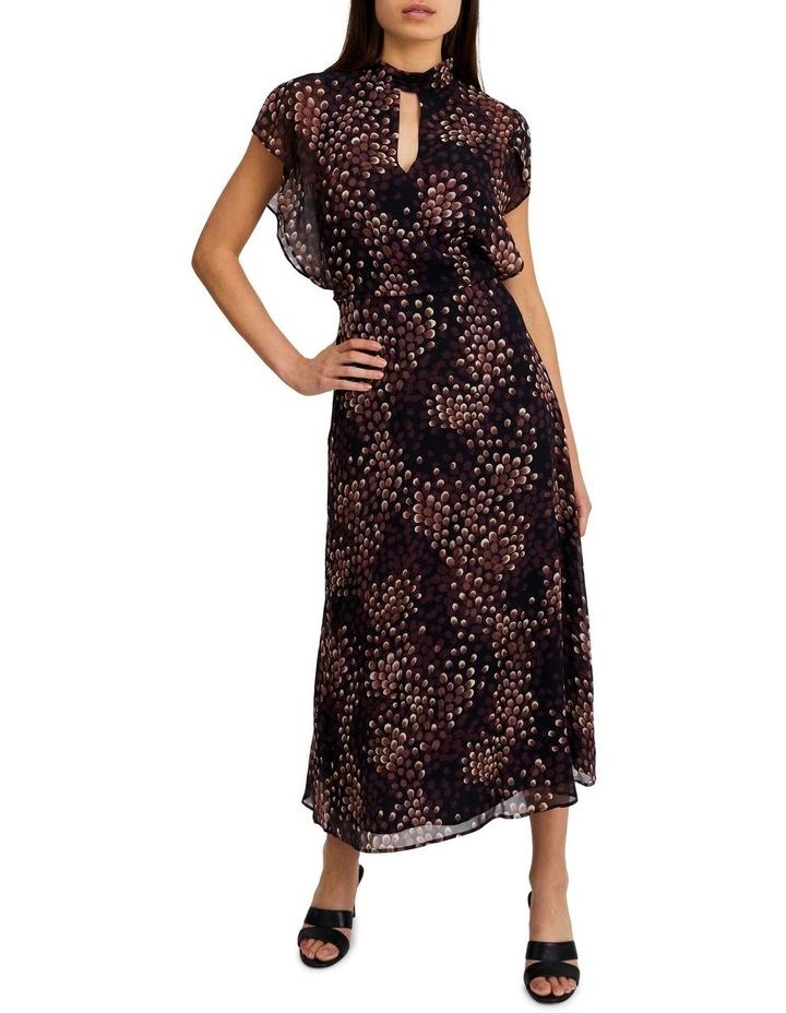 High-Neck Flutter Sleeve Dress image 1